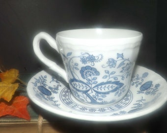 Vintage (1980s) Wedgwood Blue Heritage | Blue Onion cup and saucer set. Classic blue-and-white Nordic pattern. Made in England.