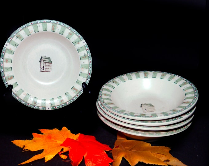 Set of five vintage (1997) Pfaltzgraff Naturewood rimmed stoneware cereal bowls made in USA. Flaws (see below).