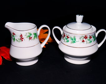 Gibson Christmas Delight | Christmas Charm creamer and covered sugar bowl set. Seasonal holly and red berries.