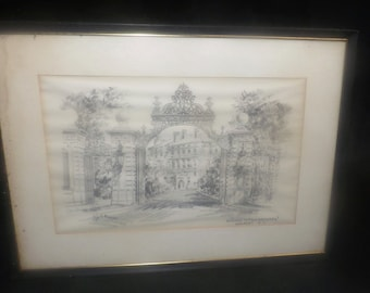 Mid-century James F. Murray signed framed pencil drawing Gateway to The Breakers Newport Rhode Island.