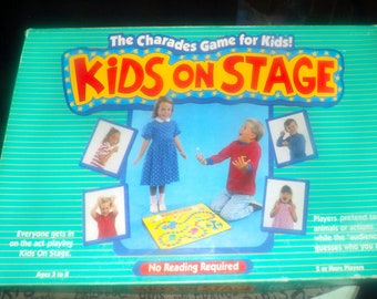 Vintage (1988) Kids on Stage charades board game for children published by University Games.  Complete.