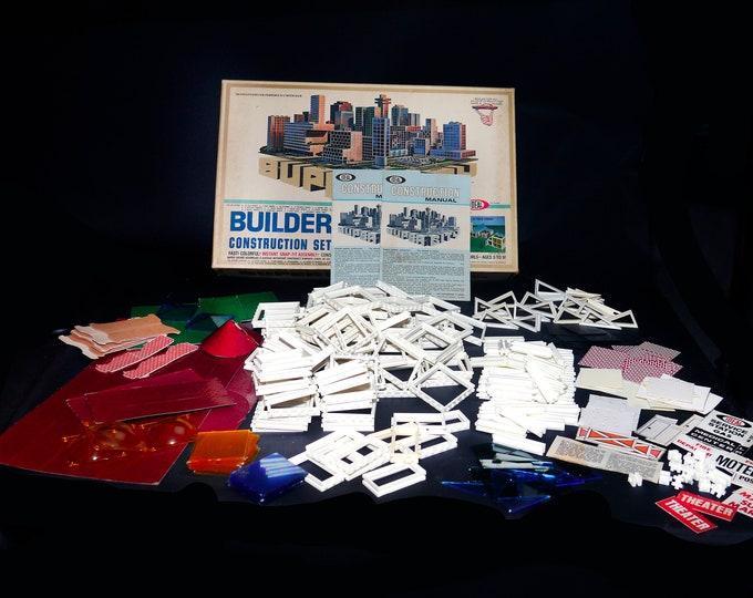 Vintage (1967) Ideal Toys Super City Builder Construction Set. Complete with instructions.
