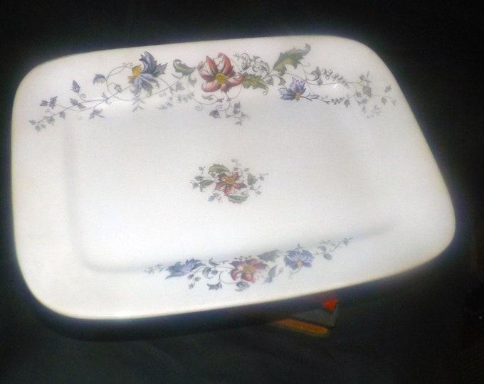 Antique (1883) Aesthetic Movement TG&FB Booths England Tulare pattern squared small platter. Parisian Granite semi-porcelain.
