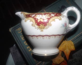 Vintage (1930s) Empire Porcelain Co York Maroon hand-decorated creamer or milk jug made in England.