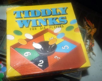 Early mid-century (1952) Tiddly Winks board game made in England by Spears Games.