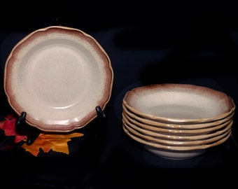 Vintage (1980s) Mikasa E8000 rimmed stoneware soup bowl. Vintage Whole Wheat stoneware made in Japan.  Sold individually.