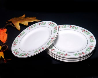 Gibson Christmas Delight | Christmas Charm salad or side plate. Seasonal holly and red berries. Sold individually.