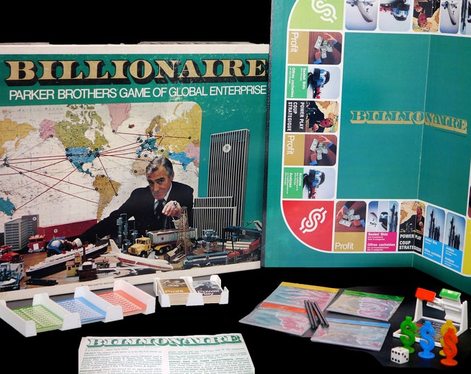 Vintage (1973) Billionaire board game published by Parker Brothers as game A-5. Complete with English and French instructions.