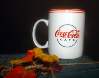 Vintage (1996) Gibson Designs | Gibson Coca-Cola Cafe large coffee or tea mug. Classic red scripted Coca-Cola logo, red bands.