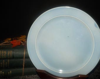 Early mid-century (1945) Lu Ray Pastels Blue dinner plate made in the USA by Taylor, Smith & Taylor.  All blue.