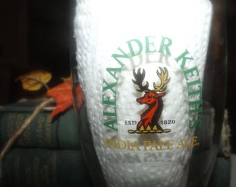 Vintage (mid 1990s) Alexander Keith's India Pale Ale pilsener | pilsner | pint glass.  Etched-glass type and logo.