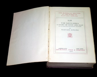 Almost antique (1927) hardcover book Rudyard Kipling The Naulahka: A Story of West and East and Kim. Mandalay Edition. Complete.