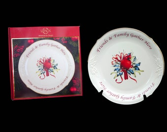 Vintage Lenox Winter Greetings round serving platter with original box. Cardinal bird, Friends & Family Gather Here. Christmas tableware