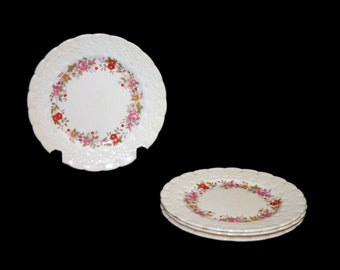 Set of four vintage (1930s) Simpsons Potters SIM6 bread, dessert, side plates made in England. Flaws (see below).
