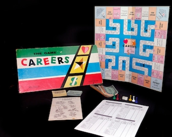 Mid-century (1955) first-edition Careers board game published by Parker Brothers. Made in Canada. Complete.