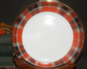 Stokes Christmas Plaid salad or side plate. Holiday tableware.