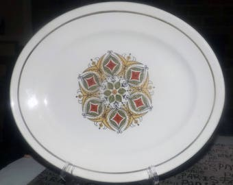 Vintage (1960s) Ridgways | Ridgway Pottery Herald pattern oval vegetable platter. Central geometric | medallion in red, green, green band.