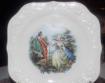 Early mid-century (1940s) RARE! Fragonard Langbroek signed salad plate. Homer Laughlin USA Theme Eggshell series. Creamware rim plate.