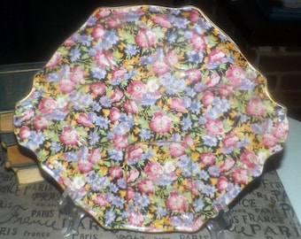Vintage (1930s) Royal Winton Grimwades Majestic hand-painted black floral chintz tray. Flawed (see below).