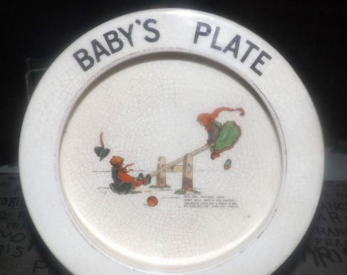 Antique (1910s) S Devon Fieldings Crown Devon Baby's rimmed porridge bowl | plate. Nursery Rhyme series, See Saw Margery Daw.