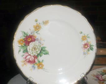Early mid-century (1940s) Royal Swan | Booths & Colclough Riverdale dinner plate. Embossed, 22K-gold edge, flowers.