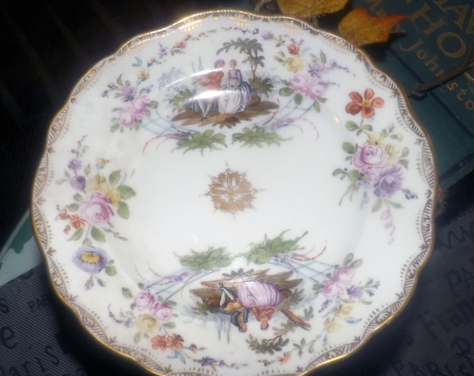 Featured listing image: Antique (1852-1870) Meissen romance scene plate. Gold center medallion, Fragonard-style courting couple in period dress, filigree, flowers.
