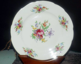 Vintage (1960s | 1970s) Cmielow Poland Meissen Flower dinner plate.  Center flowers and floral border, scalloped gold edge.