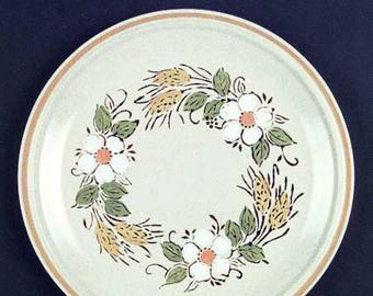 Vintage (1980s) Hearthside Garden Festival Prairie Flowers hand-painted stoneware dinner plate made in Japan. Sold individually.