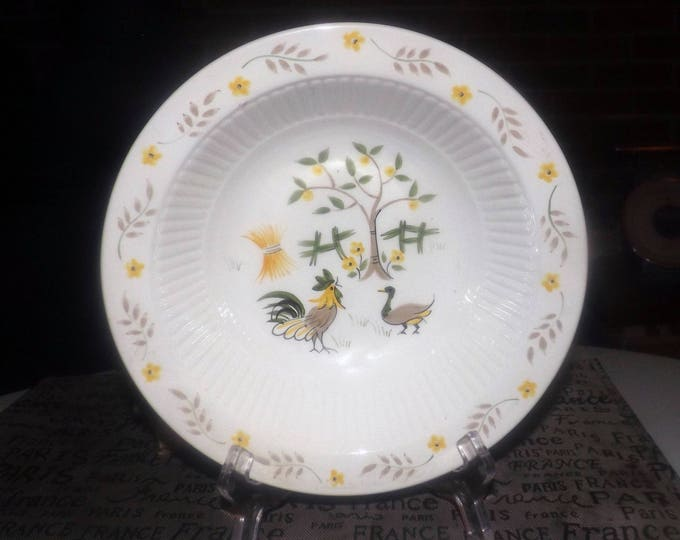 Vintage (1960s) Adams Micratex Real English Ironstone rimmed vegetable   serving bowl. Rooster, duck, yellow flowers, fence