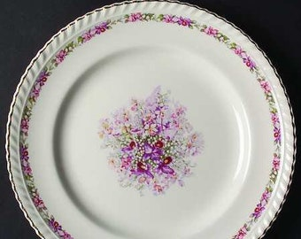 Quite vintage (1939) commemorative Johnson Brothers Old English Queen's Bouquet luncheon plate celebrating 1939 Queen Mum visit to Canada.