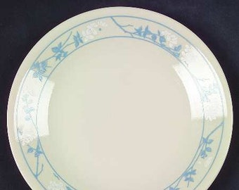 Vintage (1980s) Corelle | Corning | Corning Ware First of Spring dinner plate. Embossed blue florals. Made in USA.