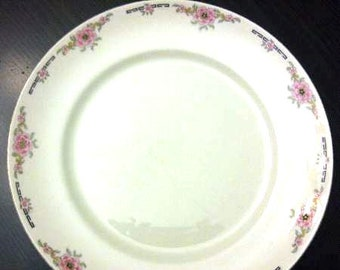 Almost antique (early 1920s) Alfred Meakin Milldale large dinner plate. Pink florals, black Greek key, gold edge.