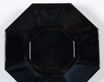 Vintage (1980s) Arcoroc | Arcopal | Luminarc Octime black glass orphan saucer. Octagonal shape, all-black glass.