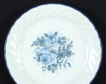 Vintage (1997) Corelle | Corning Ware Blue Velvet salad or side plate. Blue rose in center, blue edge, swirled verge.