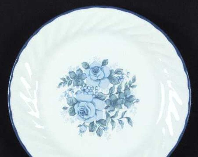 Vintage (1997) Corelle Blue Velvet salad or side plate. Blue roses. Made in USA.