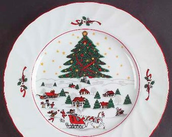 Vintage (1980s) Christmas Pleasure by Kopin large dinner plate | charger. Central tree, Christmas village, sleigh, red edge