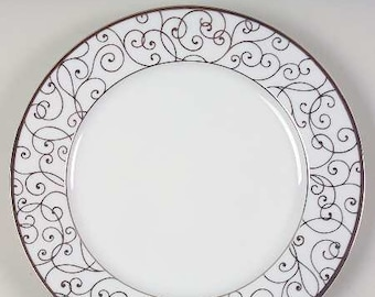 Vintage Holiday Joy Christmas salad or side plate. Gold scrolls on white. Sold individually.