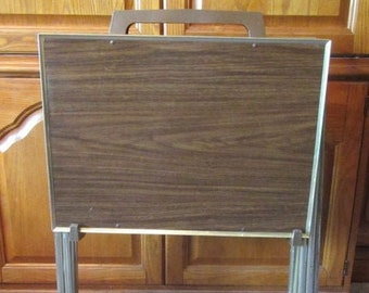 Set of four vintage (1980s) faux woodgrain TV tables | TV trays with wheeled stand.