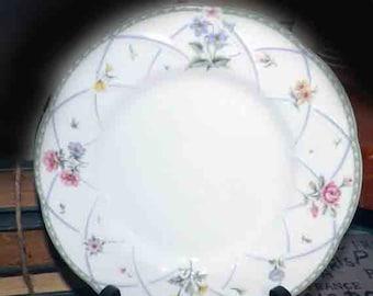 Vintage (1999) Mikasa Spring Prose salad | dessert plate. Green lattice edge, sprays of multicolor florals, embossed details