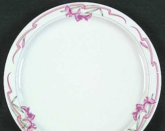 Mid-century (1950s) Homer Laughlin USA Seville 1183 salad or side plate. Melody Best Restaurantware. Pink flowers and ribbons