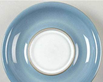 Vintage (1980s) Denby Castile orphaned stoneware saucer only (no cup). Vintage stoneware made in England. Flaw (see below).