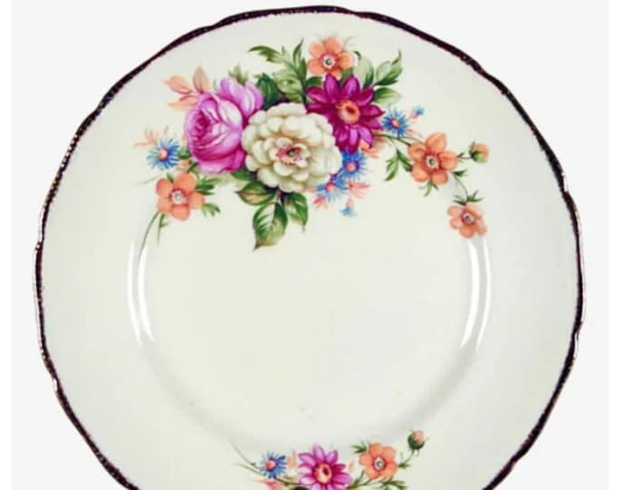 Early mid-century Royal Swan | Booths & Colclough Riverdale dinner plate made in England. Sold individually.
