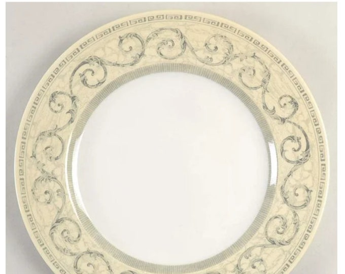 Johnson Brothers Acanthus Cream large dinner plate | charger made in England. Gray scrolls, cream border, Greek key.