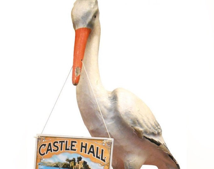 """Antique (1910s) Castle Hall Cigars Stork. """"The New Arrivals"""" advertising campaign circa 1913. Baby in mouth and placard. Fabulous."""