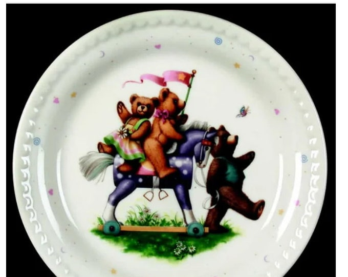 Vintage Lenox China Bears child | baby plate. Adorable trio of bears, rocking horse | pony, butterflies. Heirloom Collection.