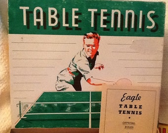 Mid-century (1950s) Table Tennis set manufactured by Eagle Toys Ltd. in Montréal Quebec Canada.  Complete.
