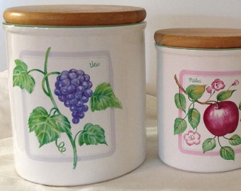 Set of four vintage (1970s) Himark fruit canisters. Ceramic with wooden vacuum-sealed lids. Flour, sugar, coffee and tea. Made in Taiwan.