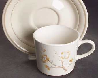 Vintage (1983) Corning China Blossom stoneware cup and saucer set made in the USA.