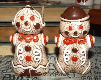 Mid-century (1950s) Gingerbread Man Woman Christmas salt and pepper shaker set.  Made in Japan. Too cute.