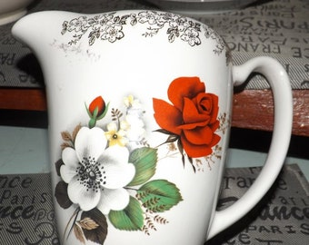 Mid-century (1950s) Lord Nelson Pottery | Elijah Cotton jug or pitcher. Gold filigree, central red white roses. Very Christmas.